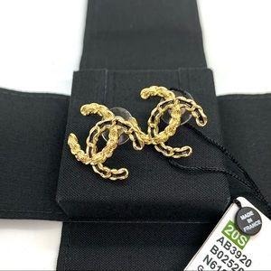 CHANEL Gold CC Textured Black Ribbon Interlocking